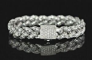 $1,995 John Hardy Silver Pave Diamond 10mm Braided Classic Chain 6.5'' Bracelet