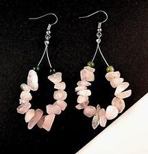 1 Tear Drop Pair of Rose Quartz Gemstone Chips Hoop Dangle Earrings - # B308