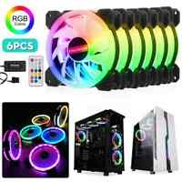 3/6 PACK RGB LED Quiet Computer Case PC Cooling Fan 120mm with Remote Control