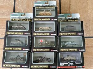 Corgi Fighting Machines WWII Tanks Trucks Willys Jeep 1:72 Scale Diecast Lot