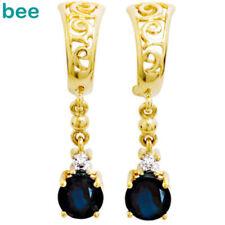 Yellow Gold Sapphire Fine Earrings