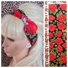 RED BLACK FLORAL PRINT COTTON BANDANA HEAD BAND HAIR NECK SCARF 50s 60s RETRO