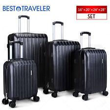 ABS Spinner 4Pcs Luggage Travel Set Bag Suitcase TSA Lock Black 16