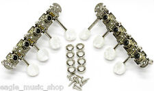 Mandolin Tuners Leader Banjo Co 'F' Style Precision Geared Faux Pearl Buttons