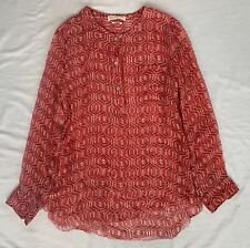 ~ ISABEL MARANT RED & WHITE ETHNIC PRINT SILK BLOUSE TOP ~ 42