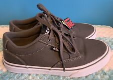 Youth Kids Juniors Boys / Girls VANS Atwood Pewter White Canvas Sneakers Shoes