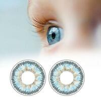 1 Pair Contact Lenses Color Soft Big Eye UV Protection Cosmetic Lens Blue EH