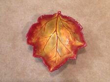 Autumn Leaf Shaped Serving Bowl Speckled Rust
