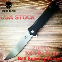 D2 Blade Ball Bearing Knives Tactical Pocket Folding Knife G10 Handle Hunting