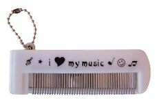 Foldable music print metal tooth comb with glass mirror and ball chain keyring.