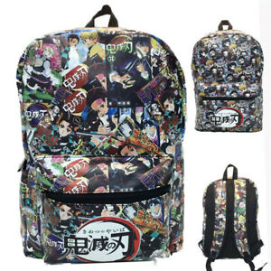 Anime Demon Slayer Backpack Schoolbag Teenagers Shoulder Bag PU Leather Satchel