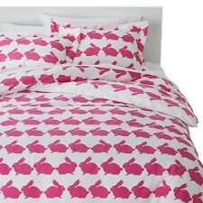 New Anorak Kissing Rabbits Pink Bunny King Duvet Cover Set w/ 2 King Shams