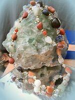✿✿vintage kette multistone heilsteine halbedelsteine bunt und nützlich