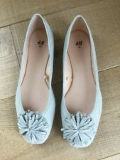 BNWT H&M Light Blue/Grey Faux Suede Flat Slip On Ballet Shoes Size 40