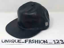MCM BLACK BASEBALL CAP HAT CALF LEATHER 6 PANEL BRASS PLATE SZ SMALL ADJUSTABLE