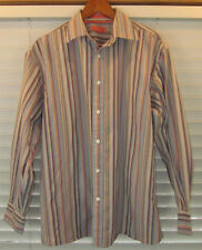 Façonnable L Gent's Orange Blue Striped All Cotton Long Sleeve Shirt Fitted