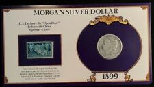 1899 O Morgan Silver Dollar- Commemorative Stamp Set, Rare 5c China Policy Stamp