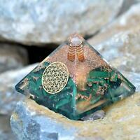 Extra Large 75 Orgonite Crystal Malachite Pyramid Positive Energy EMF Protection