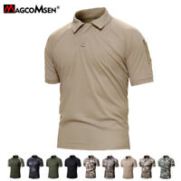 Mens Tactical Army Polo Tee Shirts Military Camouflage Hunting Hiking T-Shirts