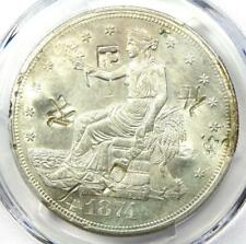 1874-S Trade Silver Dollar T$1 Coin - Certified PCGS AU Details with Chop Marks