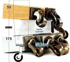 4x ANTIQUE CASTOR LEGS 175mm High CHAIR REPLACEMENT SOFA FURNITURE FEET M8(8mm)