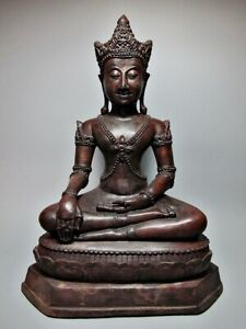 THAI BRONZE STATUE MEDITATING CHIANG SAEN BUDDHA FIGURE SCULPTURE 16/17TH C