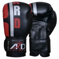 Boxing Gloves Art Leather Punch Training Sparring Kickboxing MMA Fighting- Black