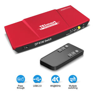 TESmart 2 Port DP KVM Switch Support 3840*2160@60Hz EDID USB devices
