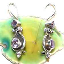 Amethyst Facettiert Handarbeit Ohrhänger Ohrringe Silber Lila verspielt Floral