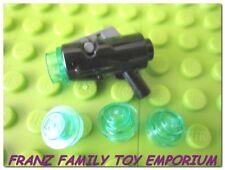 New LEGO Star Wars Minifig Weapon Black Gun Shooting Blaster x4 Light Blue Caps