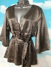 LONG TALL SALLY 10 NEW Pewter SILK Kimono Wrap Long Blouse V Neck Party Top