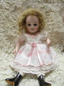 """Vtg 2 ps embroidered cotton dress / German/French mignonette dolls 7.5""""&8"""""""