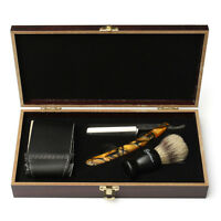 4Pcs Shave Kit Set Straight Razor Shaving Brush&Leather Strop Gift for Man US