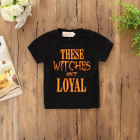 Halloween Toddler Infant Kids Baby Boys Letter Shortsleeve Tops Clothes Outfits