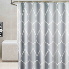 Bathroom Plain Shower Curtain Hook Rings Waterproof Geometric Print Polyester