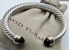 David Yurman Sterling Silver 7mm Cable Bracelet w/ Black Onyx & 18K gold sz M