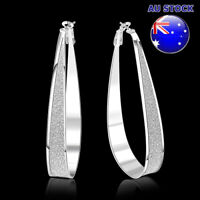Wholesale 925 Sterling Silver Filled Scrub Big Oval Hoop Earrings Party