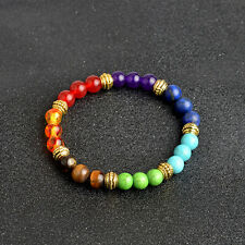 7Colors 8mm Chakra Buddha Bead Yoga Life Energy Lava Stone Bracelet Jewelry Gift