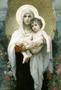 BOUGUEREAU THE MADONNA OF THE ROSES ARTIST PAINTING REPRODUCTION HANDMADE OIL