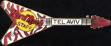 Hard Rock Cafe TEL AVIV 1993 Red & White Zebra Flying V GUITAR STAFF PIN #16434