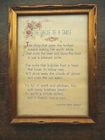 Vintage Picture Gold Framed Value of a Smile Charles Robert Newman MCM 1940's ?