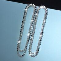 18k white gold made with SWAROVSKI crystal stud dangle long oval fancy earrings