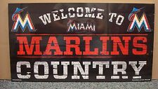 """MIAMI MARLINS WELCOME TO MARLINS COUNTRY WOOD SIGN 13""""X24'' NEW WINCRAFT"""