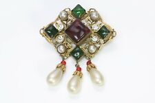CHANEL Couture 1983 Maison Gripoix Byzantine Style Red Green Glass Pearl Brooch