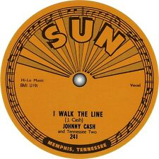 Johnny Cash. I Walk the Line. Sun Records. Repro record label sticker