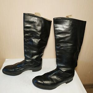 Soviet Russian Military Uniform Officer Leather Boots Chrome Size 42 WIDE