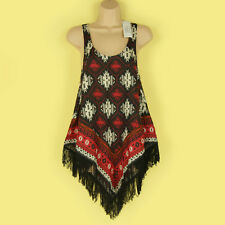 NEW FUNKY RED, BLACK & CREAM TASSLE TRIMMED AZTEC PRINTED VEST TOP SIZE SMALL