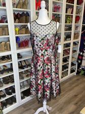 SD Brand Sheer Polka Dot Floral Retro Dress Womens 14 Homecoming
