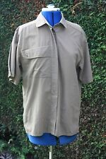 Richards Brown short sleeve blouse size 12 collar & breast pocket loose fit