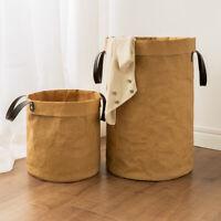 Durable Kraft Paper Bag Storage Kids Toys Organizer Basket Box Bin Handle Lin